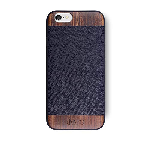 iATO iPhone 6 / 6s Designer Case - Black Saffiano Genuine Leather and Real Bois de Rose Wood. Premium Protective Shockproof Snap on Bumper. Unique & Classy Wooden Back Cover Designed for iPhone 6 / 6s