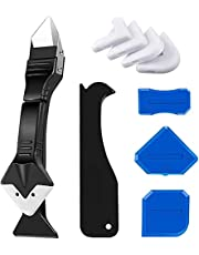 3 in 1 Silicone Caulking Tools(Stainless Steel Head), Sealant Finishing Tool Grout Scraper Remover with 5pcs Replaceable Multi-Angle Silicone Pads for Kitchen Bathroom Window Sink Joint Repair
