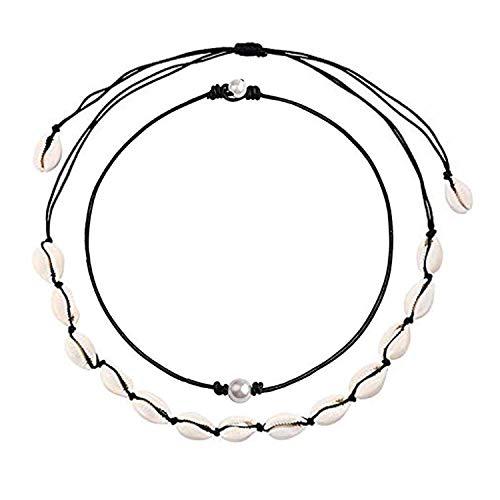 J Meng Cowrie Shell Necklace,Puka Sell Choker,Summer Beach Shell Necklace for Women (B) (Mother Flower Pearl Hawaiian Of)