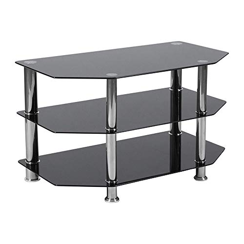 (Offex Hexagonal Shape Black Glass TV Stand with Stainless Steel Metal Frame)