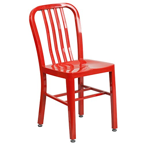 Flash Furniture Red Metal Indoor-Outdoor Chair by Flash Furniture