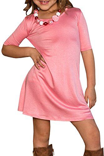 FISACE Girls Casual Flared Loose Half Sleeve A-Line Jersey Trapeze Midi Dress With Side - Girls Pink Jersey Dress