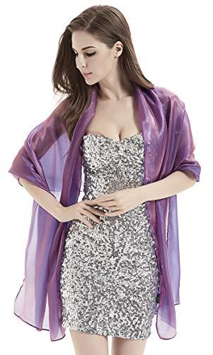 Purple Fashion Accessories (Alivila.Y Fashion Womens Organza Bridal Evening Soft Wrap Scarf Shawl-Purple Organza)
