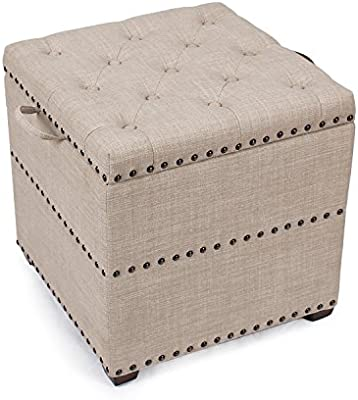 Peachy Asense Square Fabric Ottoman With Tray Storage Square Cube Ottoman Footstool Cubic Beige Alphanode Cool Chair Designs And Ideas Alphanodeonline