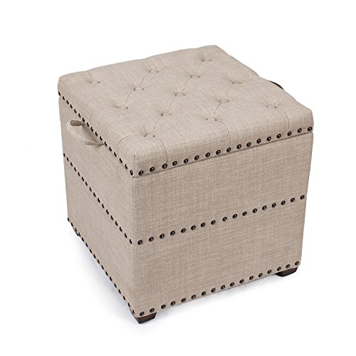 Homebeez Euro Style Fabric Bench Ottoman Footstool, Wood Legs, lid Storage, Nailhead Trim, Square Top and Cube (Beige)