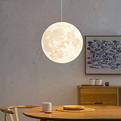 CUICAN Single Pendant Lights,Creative Nordic Simple Moon Ball Personality Hanging Lamp for Living Room Bedroom Lighting Fixture