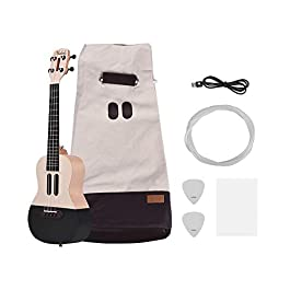 Muslady 23 inch Smart Concert Ukulele Uke Kit Supports APP Teaching BT Connection ABS Fretboard with LED light for…