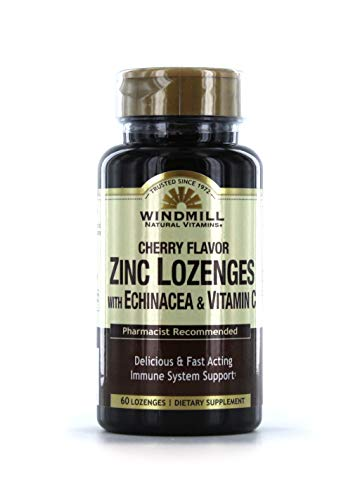 Lozenges Vitamins Windmill (Windmill Zinc Lozenges Withechinacea & Vitamin C Cherry Flavor 60 Ea)
