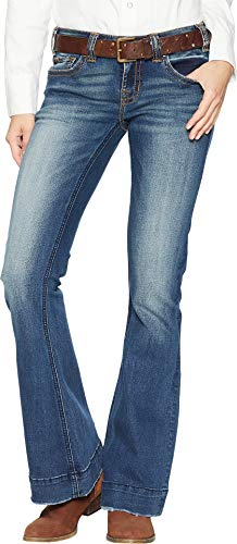 Rock Belts Roll - Rock and Roll Cowgirl Women's Trouser Jeans in Dark Vintage W8-7683 Dark Vintage 24 32