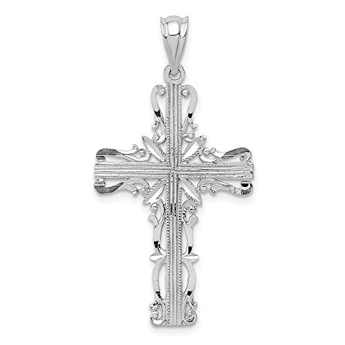 14k White Gold Latin Cross Religious Pendant Charm Necklace Celtic Iona Fine Jewelry Gifts For Women For Her