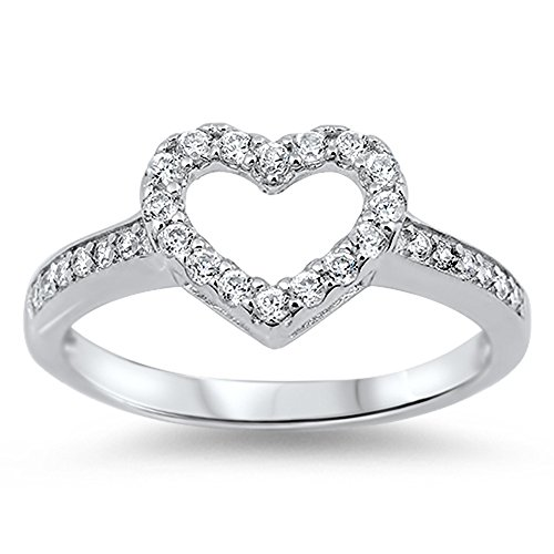 - White CZ Heart Love Cutout Simple Ring New .925 Sterling Silver Band Size 6