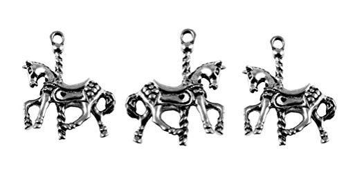 PlanetZia 5pcs 22x28mm 3D Carousel Horse Charms for Jewelry Making TVT-KVN (Antique Silver)