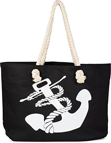 styleBREAKER Bolsa de tela y de playa Negro negro-blanco talla única negro-blanco