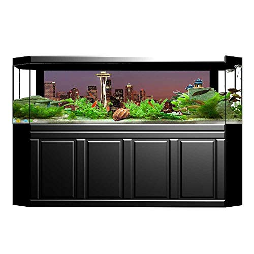 Mount Collection Canvas (UHOO2018 Fish Tank Decorations Collection Skyscraper with Mount Rainier Glowing at Sunset Nightlife Urban Panorama Pictur HD Fish Tank Decorations Sticker 23.6
