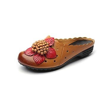 Fuxitoggo Mocasines de Flores sin Respaldo de Las Mujeres Ahuecar los Zapatos de Playa de Cuero Sandalias (Color : Negro, tamaño : EU 41): Amazon.es: Hogar