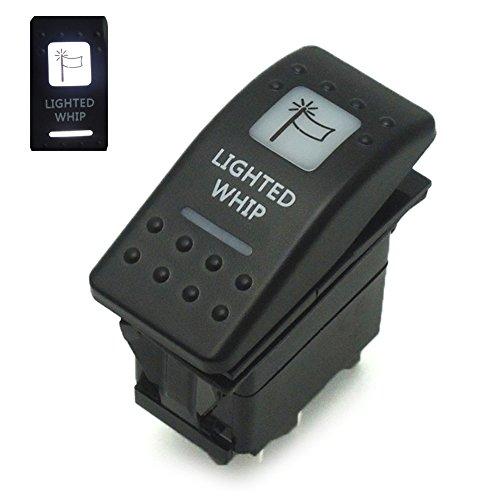 Lighted Whip Rocker Switch with White Backlight 12V for UTV/ATV Can-Am Commander Polaris Ranger RZR