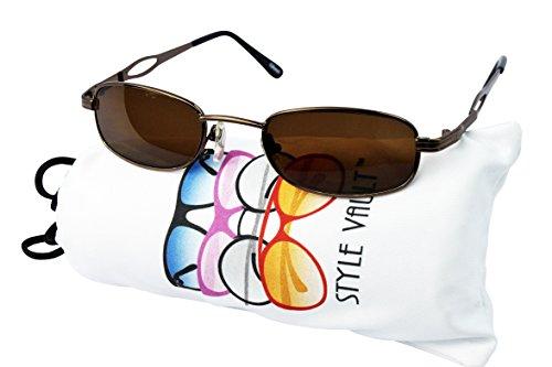 V3047-vp Style Vault Rectangular Metal Small Lens Sunglasses (B1376F - Bronze Sunglasses