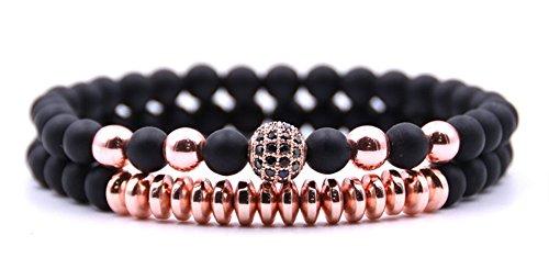 Moonsky Valentine's Day 6mm Black Matte Onyx Beads Couple Bracelet for Men Women Elastic Yoga Bracelet Set (Black Beads + Rose Gold Beads) - Strand Gold Black Bracelets