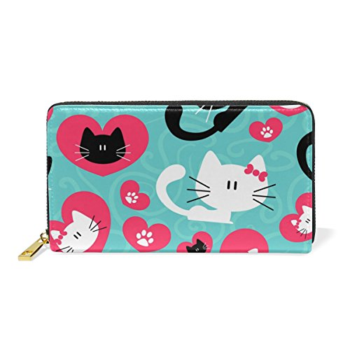 LORVIES Couple Of Cats Leather Clutch Purse Long Wallet Card Holder Organizer by LORVIES