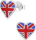 Hypoallergenic Sterling Silver British Flag Heart Stud Earrings for Kids (Nickel Free)