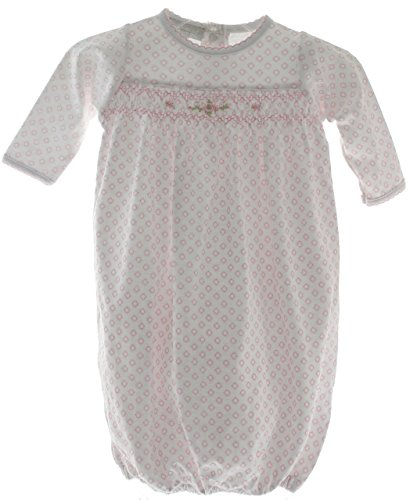 Girls Pink Take Home Gown with Smocking Magnolia Baby Layette NB (Gown Home Take)