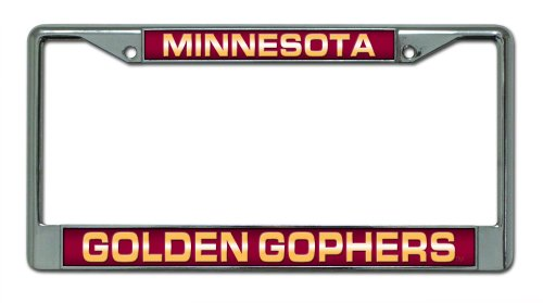 Minnesota Golden Gophers Laser Cut Inlaid Standard Chrome License Plate Frame (Minnesota License Plate Tag)