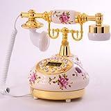 ヨーロピアンスタイル 陶器製 素敵な アンティーク インテリア 電話器 ローズ (ゴールドタイプ)