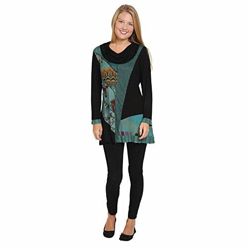 Women's Tunic Top - Green And Black Cowl Neck Long Sleeve Shirt - 2X