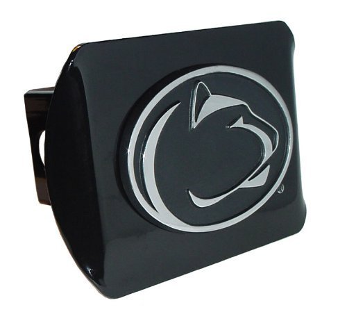 - Elektroplate Penn State Nittany Lions Black Metal Trailer Hitch Cover with Chrome Metal Logo