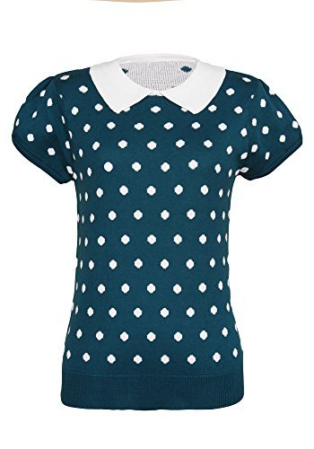 Sidecca Polka Dot Short Sleeve Contrast Pointed Collar Sweater Knit Top  Large  Teal