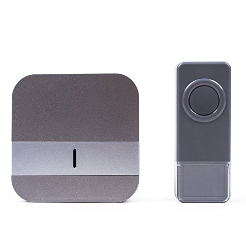 Wireless Doorbell Chime Kit 1000 Feet Working Range, Easy Installation Plug-in Push Button with LED Indicator, 1 Receiver and 1 Push Button (Waterproof Transmitter), 52 Melodies to Choose (1T1, Gray)