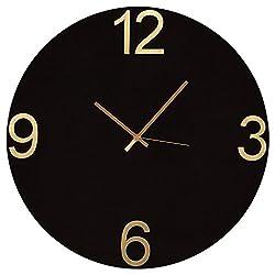 Rivet Modern Glass-Face Clock, 18H, Black/Brass