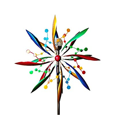Fancy Gardens 7 Foot Tall Festive Flower Wind Spinner with Solar Ball -- Decorative Lawn Ornament Wind Mill - Unique Outdoor Lawn and Garden Décor - Solar Wind Spinner: Toys & Games