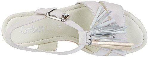Gabor Shoes Fashion, Sandalias con Cuña para Mujer Blanco (ice/rame/nude 11)