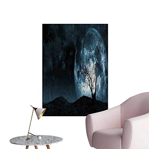 Wall Stickers for Living Room Moon Sky with Tree Silhouette Gothic Halloween Colors Scary Artsy Background Slate Blue Vinyl Wall Stickers Print,24