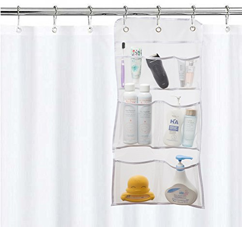 MISSLO Hanging Mesh Pockets Hold 340oz/1000ml Shampoo Shower Organizer with Over The Door Hooks