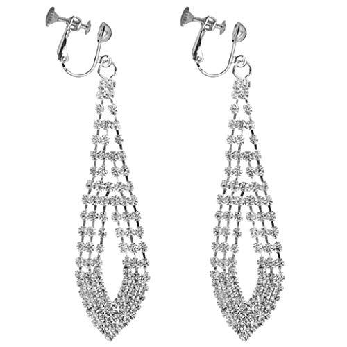 Women Girls CZ Crystal Clip On Earrings Long Large Teardrop Dangle Layered Leaf Drop Bride Jewelry