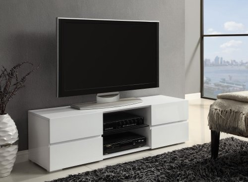 Coaster Contemporary Glossy White TV Console with Glass Shel