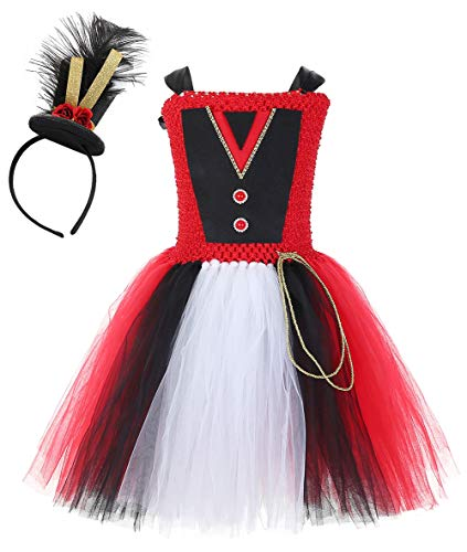 Mint Lion Tamer Costume for Little Girls Halloween Party Circus Ringmaster Tutu Dress X-Large Red