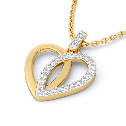 14K Or jaune 0.18CT TW Round-cut-diamond (IJ | SI) Pendentif