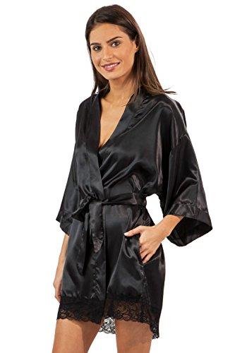 - Ashford & Brooks Women's Printed Satin Short Kimono Robe - Black - Large