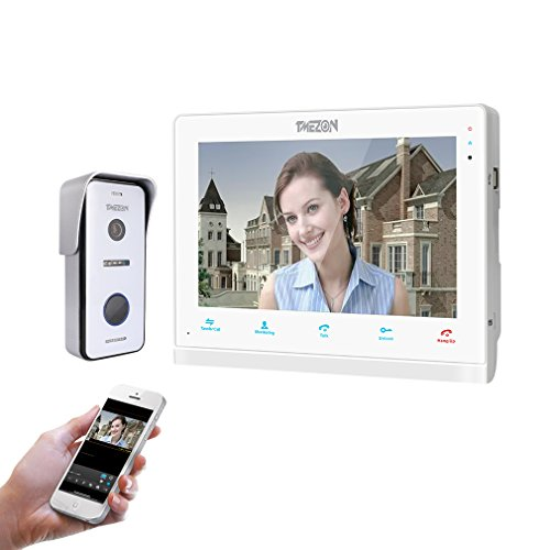 TMEZON 10 Inch Wireless/Wired WiFi IP Video Doorphone Intercom Doorbell Entry System with 1x720P AHD Wired Camera Night Vision,Remote Unlocking,Talking,Recording,Snapshot ()