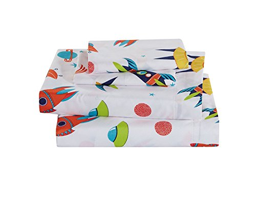 Elegant Home Multicolors Navy Blue Orange White Red Solar System Universe Design Fun 4 Piece Printed Full Size Sheet Set with Pillowcases Flat Fitted Sheet for Boys/Kids # Solar (Full Size)