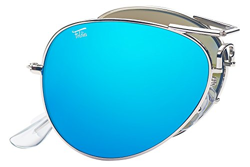 Foldies Silver Folding Aviators with Polarized Blue Mirrored ()