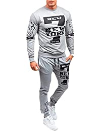 pipigo Men's Fitness Jogging 2 Pieces Sweatshirt Sport Pants Tracksuit Set
