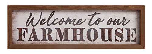 Welcome to Our Farmhouse 24.5 x 7.75 Inch Faux Tin & Pine Wood Wall Plaque Sign (Welcome Farm)