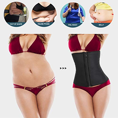 a5fe7fbbd MISS MOLY Latex Waist Trainer Cincher Zip Hook Tummy Control Shapewear  Women Steel Boned Corset Plus Size