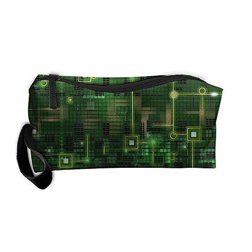 Kla Ju Portable Pen Bag Purse Pouch Circuit Green Background Stationery Storage Organizer Cosmetic Holder]()
