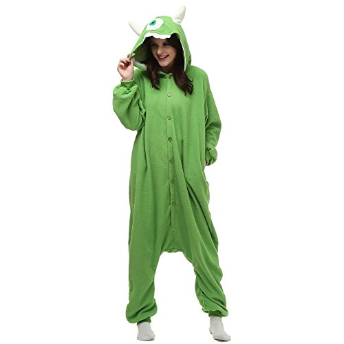 Mike Wazowski Costume For Adults (Wishliker Mike Animal Onesie Pajamas Costume Unisex Adult Cosplay Sleepwear)