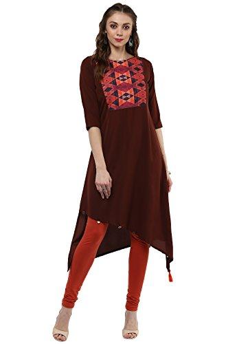 Womens Kurtas - Janasya Indian Tunic Top Crepe Kurti For Women (JNE2071-KR-258-S)